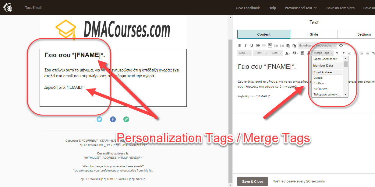 Mailchimp Personalization Tags